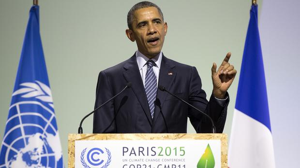 Barack Obama delivers remarks during the COP21 conference, in Le Bourget, Paris (AP)