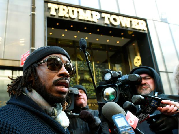 Bishop Victor S Couzens of the Inspirational Baptist Church in New York arrives at Trump Tower for a meeting with Republican hopeful Donald Trump. Photo: AFP/Getty Images