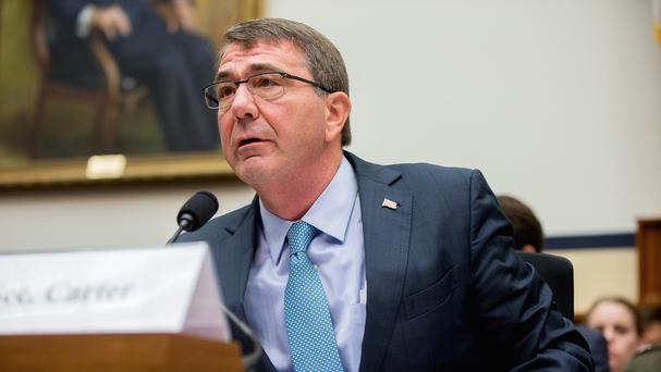 Defence secretary Ash Carter testifies before the House Armed Services Committee hearing on the US strategy for Syria and Iraq (AP)
