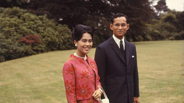 King Bhumibol and Queen Sirikit of Thailand during a visit to Britain