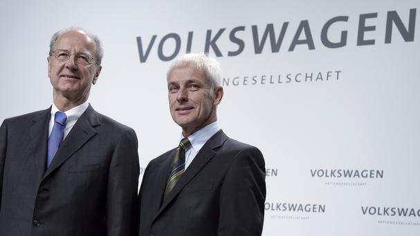 Hans Dieter Poetsch, chairman of the board of directors of Volkswagen, left, and Matthias Mueller, CEO of Volkswagen. (AP)
