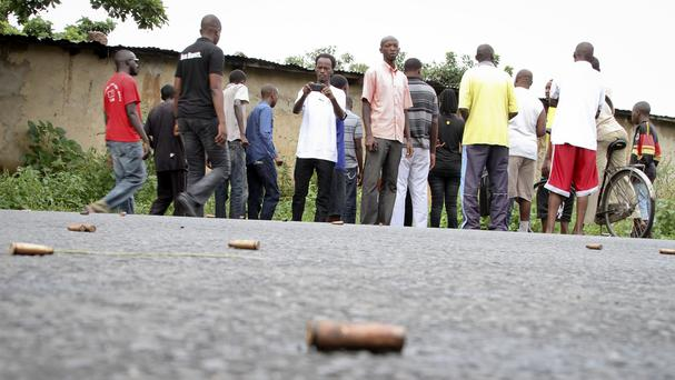 Spent bullet casings lying on a street in the Nyakabiga neighbourhood of Bujumbura, Burundi (AP)