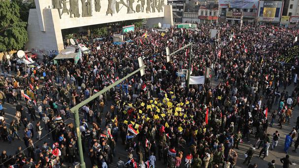 Crowds participated in a demonstration demanding the withdrawal of Turkish troops from northern Iraq (AP)