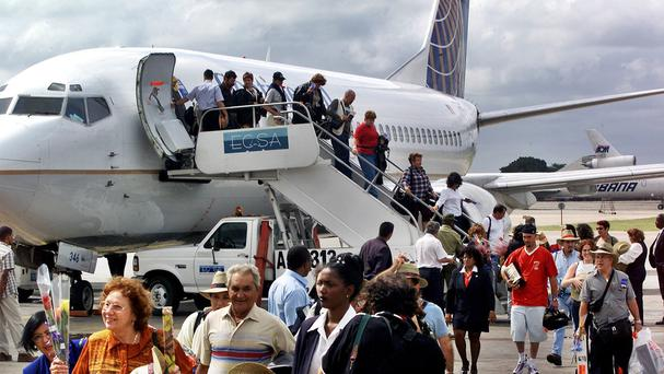 A Continental Airlines flight from Miami, Florida, arrives at Jose Marti Airport in Havana in 2001 - scheduled US-Cuba flights are now being restored (AP)