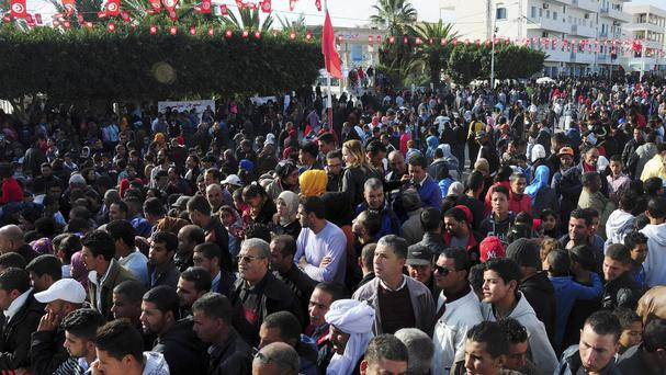 Tunisians gather in Sidi Bouzid, Tunisia, to mark the fifth anniversary of the Tunisian unrest (AP)