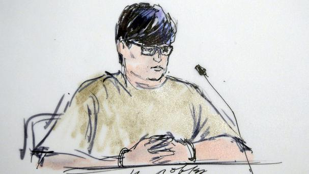 A courtroom sketch of Enrique Marquez, who faces terror charges for plotting attacks in 2011 and 2012 with California massacre gunman Syed Farook (AP)