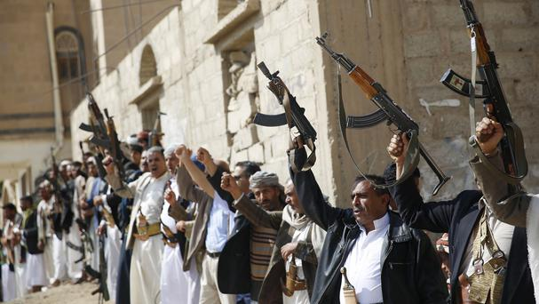 Shiite tribesmen showing support for the Houthi movement in Sanaa (AP)