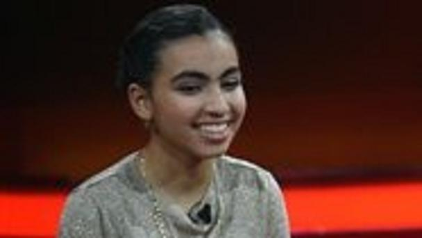 Reem Sahwil on a show by broadcaster RTL in Huerth, Germany (Henning Kaiser/dpa via AP)