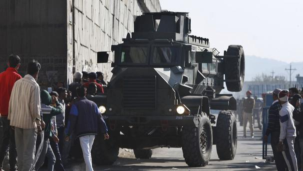 An Indian armoured vehicle in position at Pathankot air base as during the battle between troops and gunmen (AP)