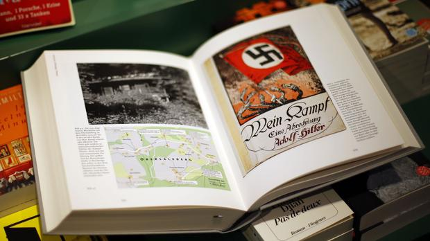 A copy of Hitler, Mein Kampf - A Critical Edition on a display table in a book shop in Munich, Germany (AP)