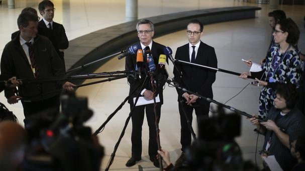 Interior minister Thomas de Maiziere and justice minister Heiko Maas address the media (AP)