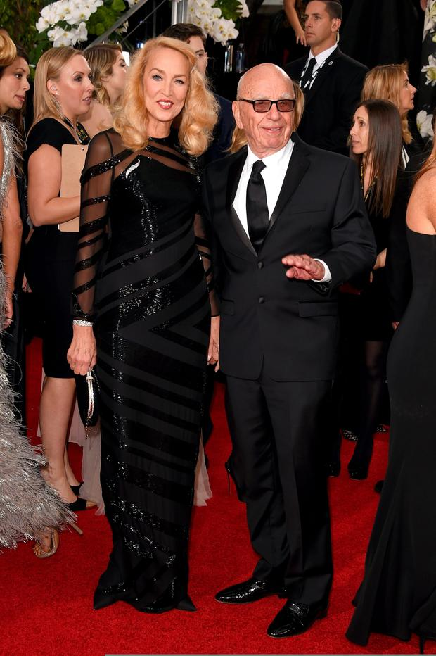 Jerry Hall and Rupert Murdoch at the Golden Globes. Photo: Getty