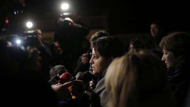 French education minister Najat Vallaud-Belkacem speaks to the media at the Saint-Exupery school in Lyon, which the two pupils killed in the avalanche attended (AP)