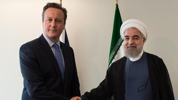 Iranian president Hassan Rouhani pictured with Prime Minister David Cameron at the United Nations General Assembly in New York