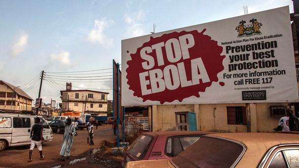A banner reading stop Ebola in Sierra Leone (AP)