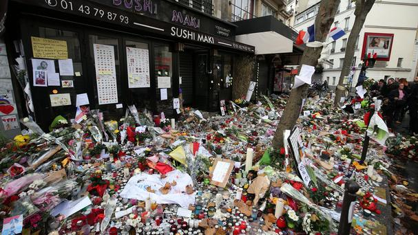 Floral tributes left at the Belle Equipe bar in Paris after November's terror attacks