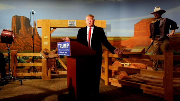 The hell he can: US Republican presidential candidate Donald Trump speaks at a news conference held at the John Wayne Birthplace & Museum in Winterset, Iowa last week. It was a tempestuous week for The Donald, with Sarah Palin endorsing him. Last night he said: 'I could stand in the middle of Fifth Avenue and shoot somebody - and I wouldn't lose voters.' He may be right. Photo: Mark Kauzlarich/Reuters