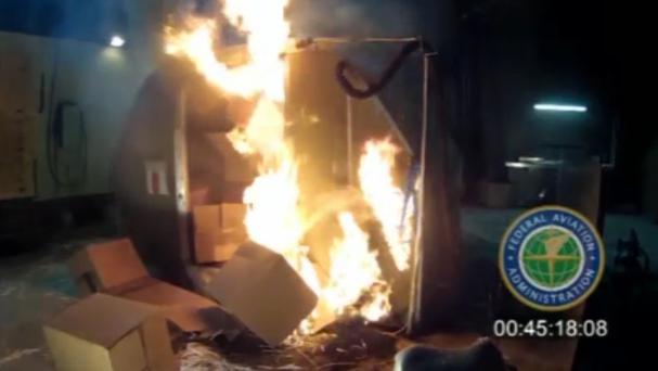 An FAA test shows what happened when a cargo container was packed with 5,000 rechargeable lithium-ion batteries (FAA/AP)