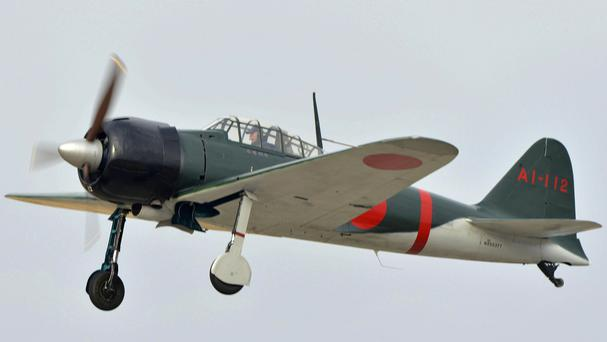 The restored Zero fighter takes to the air (Kyodo News/AP)