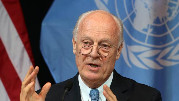 Staffan de Mistura is meeting members of the main Syrian opposition group (AP)