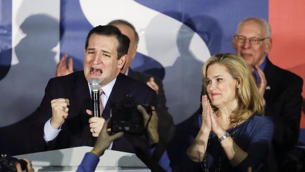 Republican presidential candidate Ted Cruz, accompanied by his wife Heidi, came out on top in Iowa. (AP)