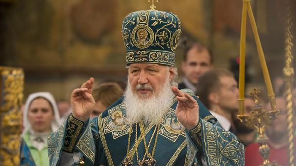 Russia's Patriarch Kirill at the Cathedral of the Assumption at Cathedral Square in the Kremlin, Moscow (AP)