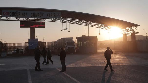 The closed border crossing with Syria on the outskirts of the Turkish town of Kilis (AP)