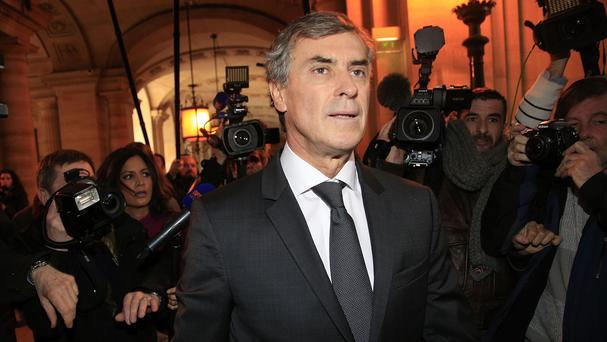 Jerome Cahuzac arrives for his trial in Paris (AP)