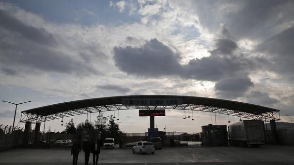 The closed Turkish border crossing with Syria on the outskirts of the town of Kilis, in south-eastern Turkey (AP)