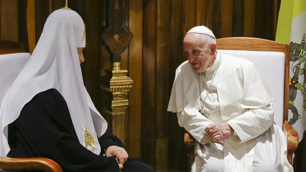 Pope Francis, right, meets Russian Orthodox Church Patriarch Kirill (AP)