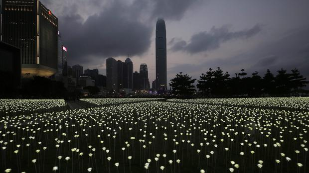 The Light Rose Garden against the backdrop of Central, the business district of Hong Kong (AP)