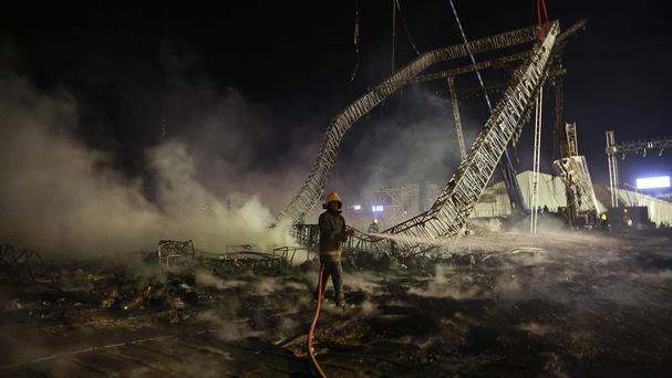 The blaze broke out during a Make in India Week event in Mumbai (AP)