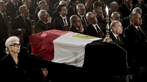 Laila Boutros-Ghali, left at the funeral for her husband Boutros Boutros-Ghali