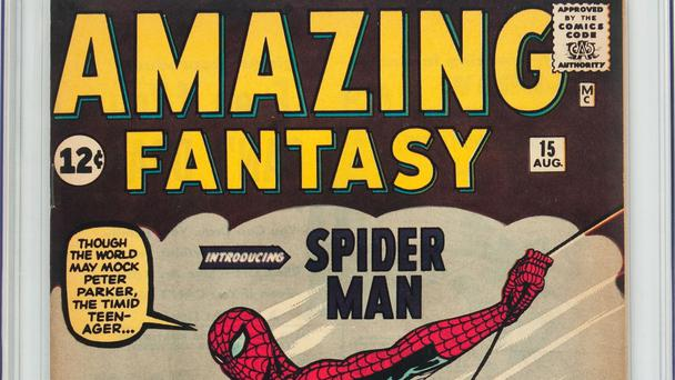 The comic features the first appearance of Spider-Man (Heritage Auctions/AP)