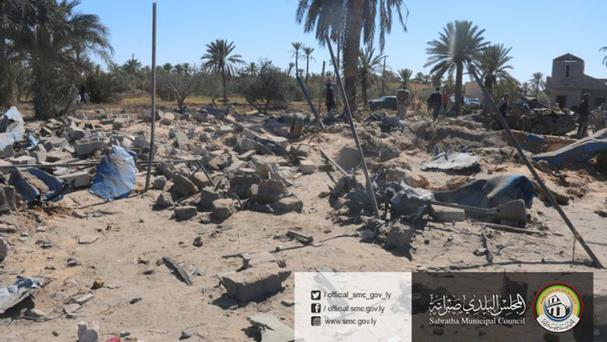 The site of the Islamic State training camp in Sabratha, Libya (Sabratha Municipal Council/AP)