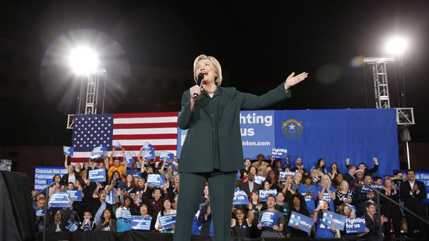 Democratic presidential candidate Hillary Clinton speaks during a rally in Las Vegas (AP)