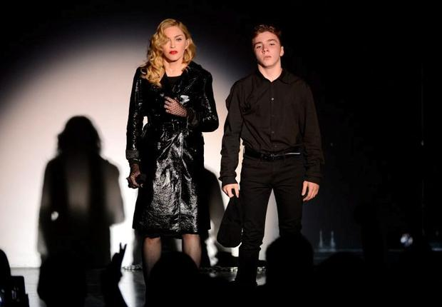 Madonna and Rocco share a catwalk in 2013. Photo: Kevin Mazur/Getty Images