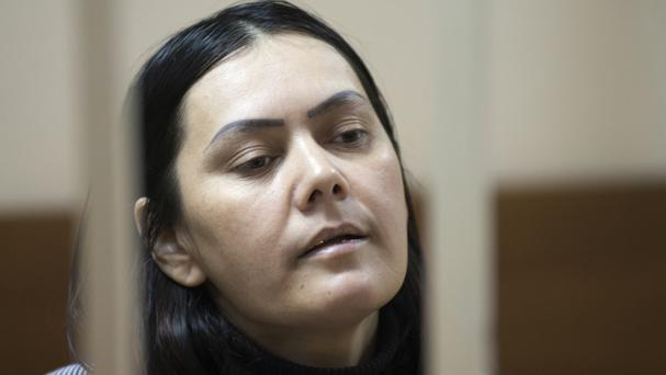 Gulchekhra Bobokulova appears in a courtroom in Moscow (AP)