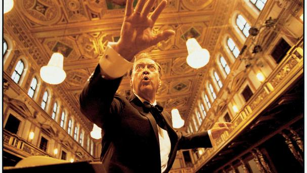 Conductor Nikolaus Harnoncourt in rehearsal in Vienna in 2003 (BBC/PA)