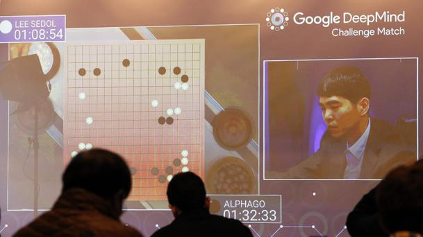 Media representatives watch Go player Lee Sedol take on Google's artificial intelligence programme AlphaGo in Seoul (AP)