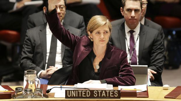 Samantha Power made an impassioned plea for a UN Security Council vote (AP)
