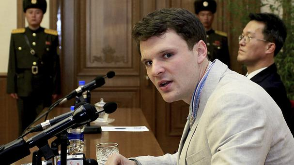 US student Otto Warmbier speaking to reporters in Pyongyang in February (AP)