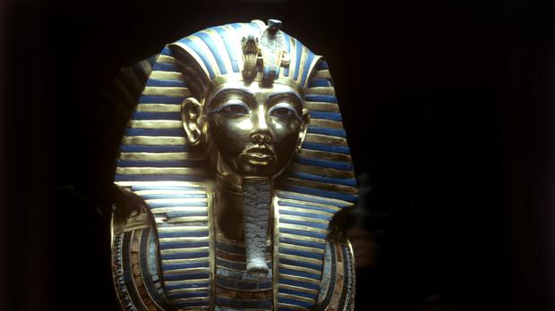 The solid gold death mask of Egyptian Pharaoh Tutankhamun at the British Museum
