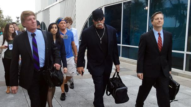 Hulk Hogan leaves the Pinellas County courthouse with his lawyers (AP)