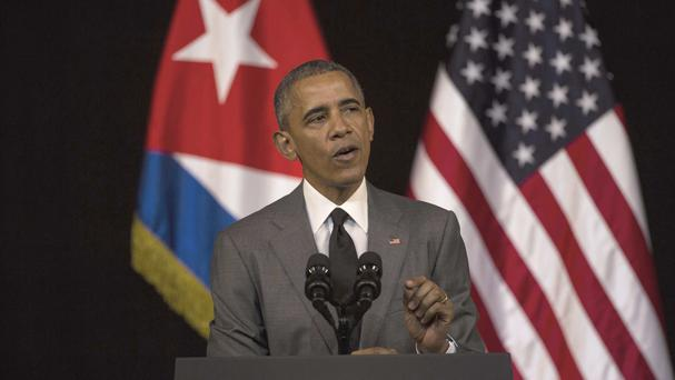 Barack Obama delivers his speech at the Grand Theatre of Havana (AP)
