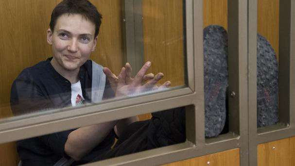 Ukrainian pilot Nadezhda Savchenko during a court hearing in the town of Donetsk, Russia (AP)