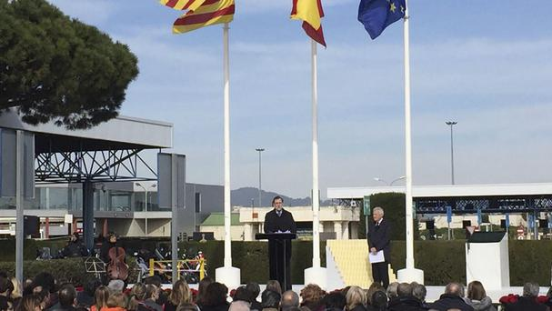 Spain's acting prime minister Mariano Rajoy gives a speech at Barcelona's airport in memory of the victims of the Germanwings plane crash (AP)