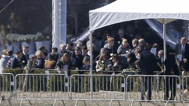 Families of victims pay tribut during a ceremony marking one year after the Germanwings Airbus A320 crash (AP)