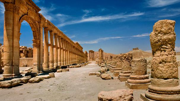 The site of the ancient city of Palmyra was recaptured by Syrian troops from Islamic State fighters (SANA/AP)
