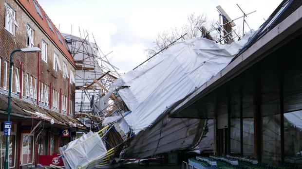 Scaffolding that collapsed following strong winds in Woodley, Reading, as Storm Katie ensured the Easter weekend continued to be wet and windy (Twitter feed of Nino Auricchio)